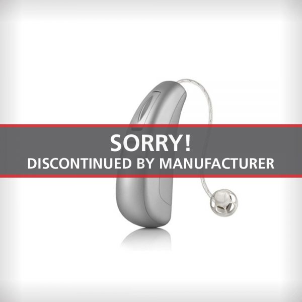 An image of the Unitron Moxi Dura Tempus 700 hearing aid on a white surface with a label that says Sorry Discontinued by Manufacturer
