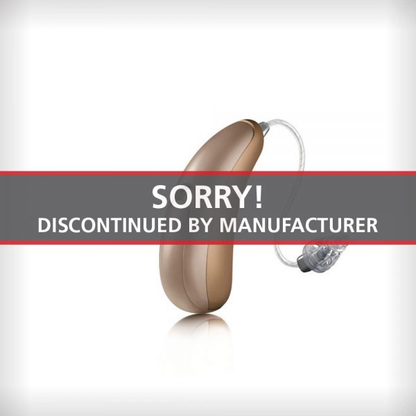 An image of the Unitron Moxi Kiss Tempus 800 hearing aid on a white surface with a label that says Sorry Discontinued by Manufacturer