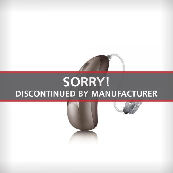 An image of the Unitron Moxi All Tempus 600 hearing aid on a white surface with a label that says Sorry Discontinued by Manufacturer
