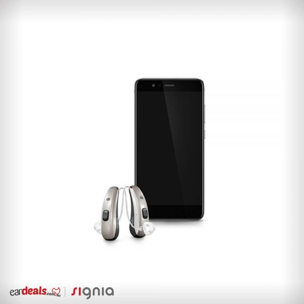 An Android smartphone and a pair of Signia Siemens Pure Charge&Go 7Nx hearing aids sit in the middle of a white background.