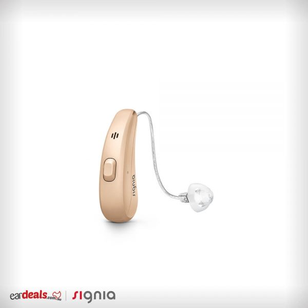 The beige coloured Signia Siemens Pure Charge&Go 7Nx hearing aid sits on a white surface.