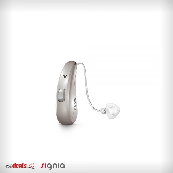 The Signia Siemens Pure Charge&Go 7Nx hearing aid in a dark champagne colour option sits in the middle of a white surface.