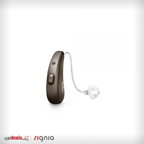 The Signia Siemens Pure Charge&Go 7Nx hearing aid on a deep brown casing sits on a white background.