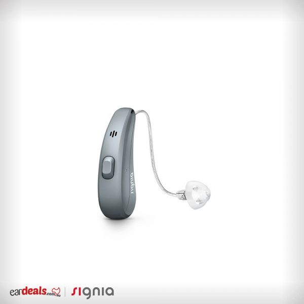The deep grey-coloured Signia Siemens Pure Charge&Go 7Nx hearing aid is seated in the middle of a white background.