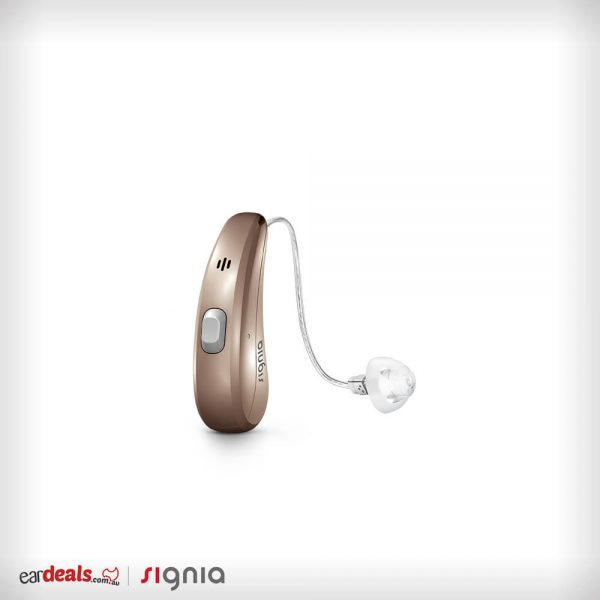 An upright Signia Siemens Pure Charge&Go 7Nx hearing aid in a golden blonde casing sits on a white background.