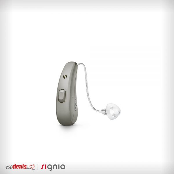 The Signia Siemens Pure Charge&Go 7Nx hearing aid in granite casing sits on a white background.