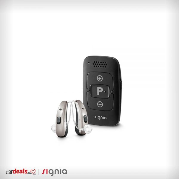 The miniPocket and a pair of Signia Siemens Pure Charge&Go 7Nx hearing aids on a white surface