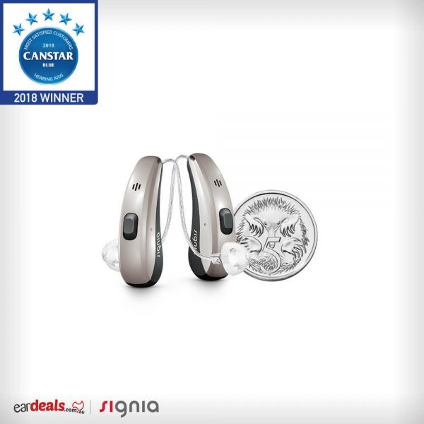 A pair of Signia Pure Charge&Go 7Nx Hearing Aid next to a Australian five cent coin to show size. The hearing aid is just a little taller.