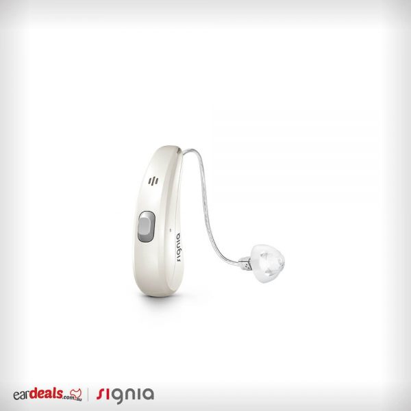 A picture of Signia Siemens Pure Charge&Go 7Nx in Pearl White Cover on a white background
