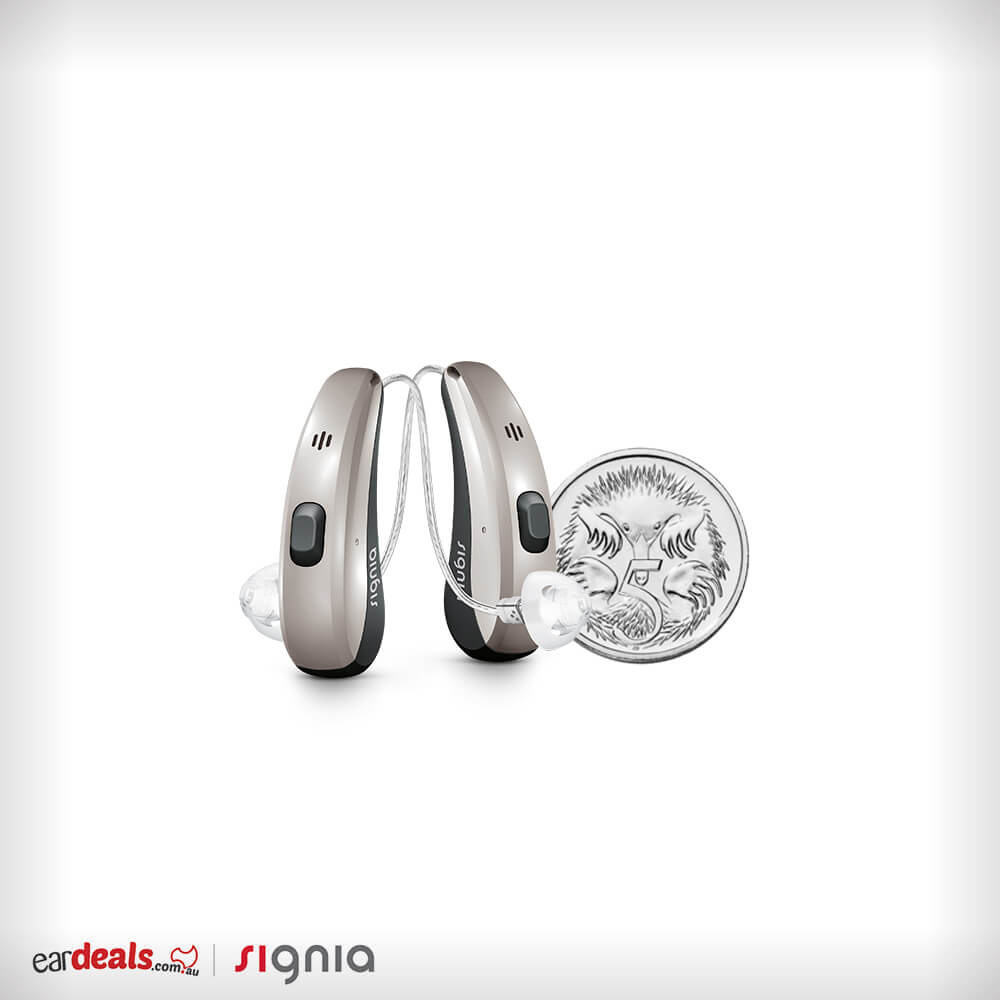 The Signia Pure Charge&Go 7Nx Hearing Aid next to a Australian five cent coin to show size. The hearing aid is just a little taller.