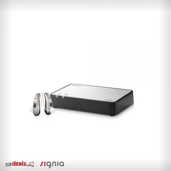 On a white background, the Signia Siemens Streamline TV sits beside a pair of Pure Charge&Go 7Nx hearing aids.