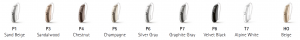 Aligned images of the Phonak Audeo Marvel Rechargeable hearing aids in different colours; sand beige, sandalwood, chestnut, champagne, silver gray, graphite gray, velevet black, alpine white, and beige