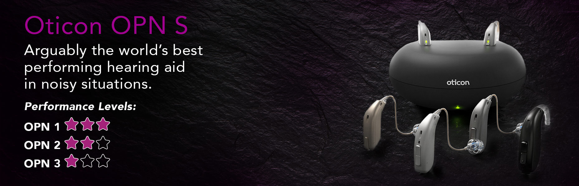 The Oticon Opn S1 hearing aid range sits on the right side of a dark rock-textured surface with content details about the device on the left