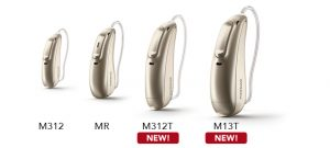 The Phonak Marvel devices M312, MR, M312T, M13T aligned from left to right and perspectively distant showing the last two as the nearest both labeled with new below their names