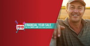 "A rectangular image with a smiling older man appears on the right and a cast of red colour overlapping the man with text that says ""2019 Financial Year Sale Up to 20% off our low prices!"""