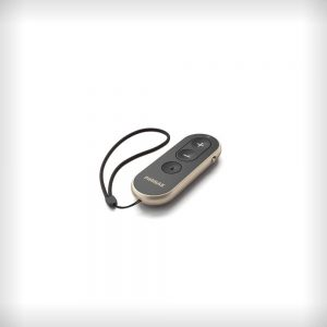 The Phonak RemoteControl accessory laid on a white surface