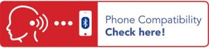A rectangular banner half coloured red with silhouette showing signal towards a mobile phone with Bluetooth symbol whilst the other half of the banner is coloured white written with the text Phone Compatibility Click Here!