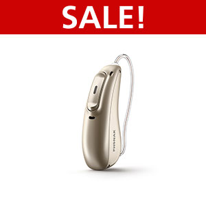 An image of the latest Phonak Marvel MR M90 hearing aid on a white surface with a red sale label on top