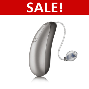 An image of the Unitron Discover Moxi Jump R hearing aid on a white background with red label on top that writes Sale!