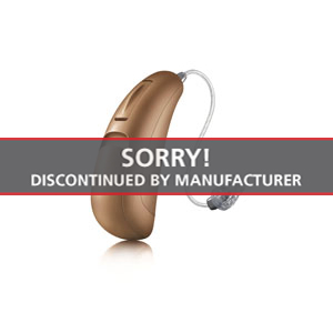 An image of the Unitron Moxi Dura Tempus pro hearing aid on a white background with a label that writes Sorry Discontinued by Manufacturer